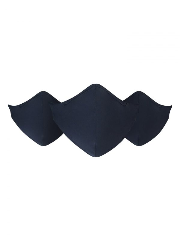 Three Navy Resuable and washable masks