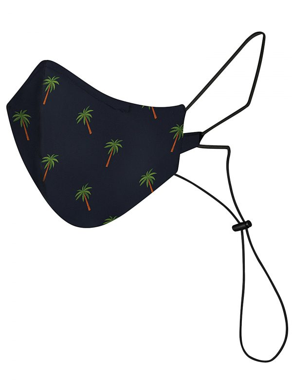 Navy reusable and washable mask with palms