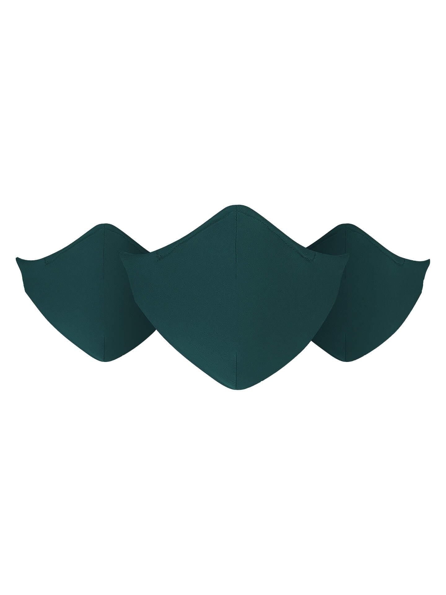 Três Máscaras Reutilizáveis e Laváveis Verdes
