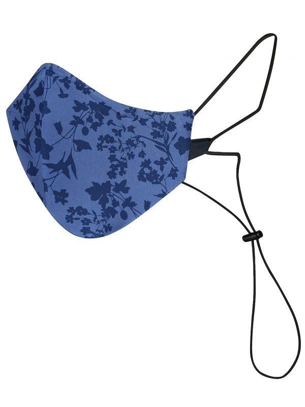 Blue reusable and washable mas with dark blue flowers