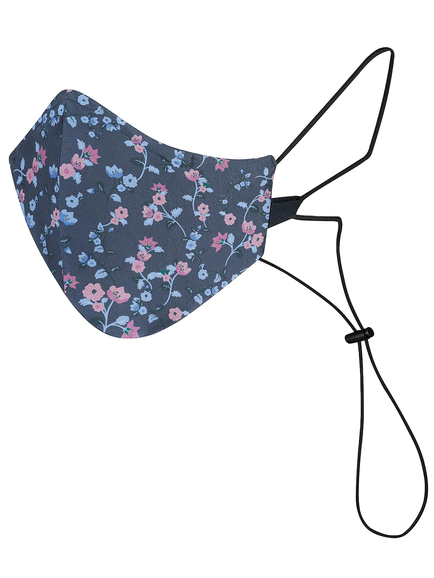 Dark Blue Reusable and Washable Maskk with Blue and Violet Flowers