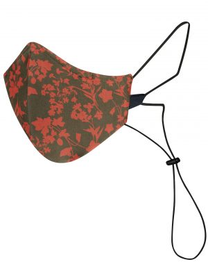 One Brown Reusable and Washable Mask with Red Leafs from Maskk