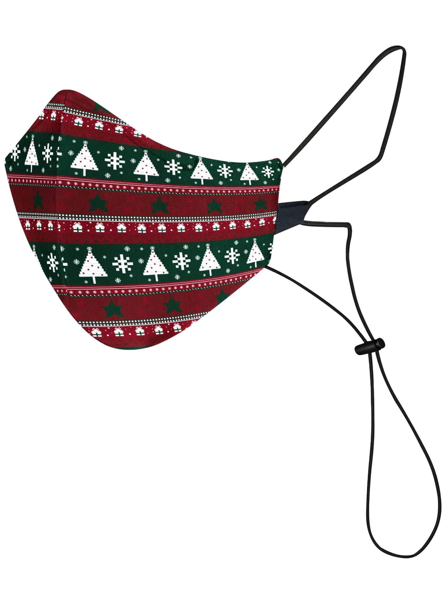Mascarilla Reutilizable y Lavable Roja y Verde com Arvores de Navidad