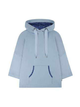 One hoodie blue with blue flowers designed