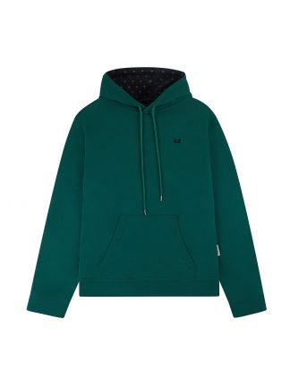 One green hoodie with palms designed