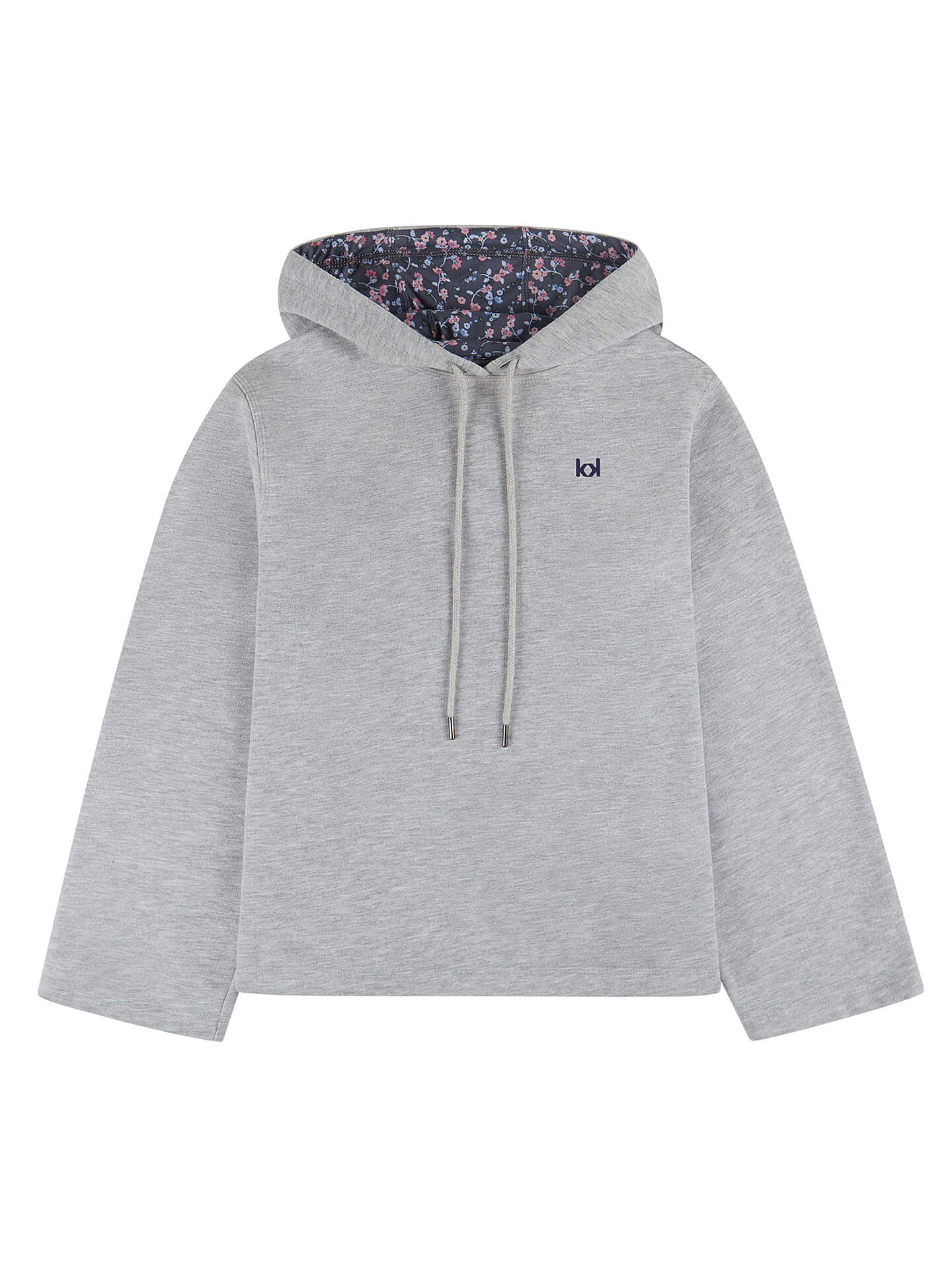 One grey hoodie with violet flowers designed